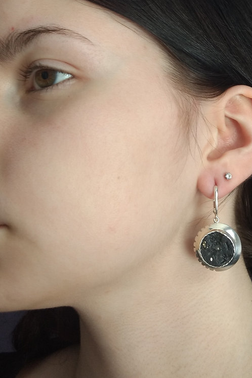 Earrings slate/pyrite and sterling silver