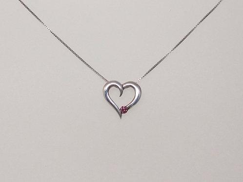 Pendant open heart with pink diamond