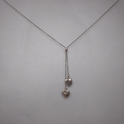 Larriat with hearts in silver