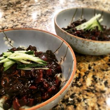 Black Bean Noodles (짜장면, Jjajang-Myeon)
