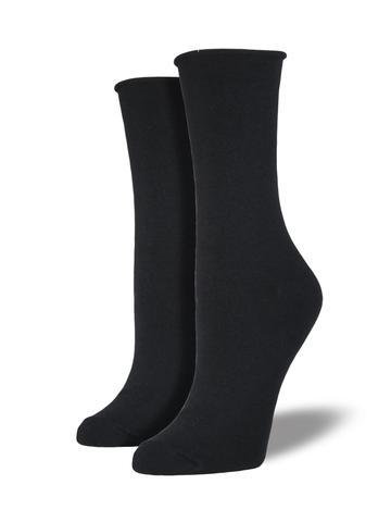 Womens Basic Comfort Crew Black Socks