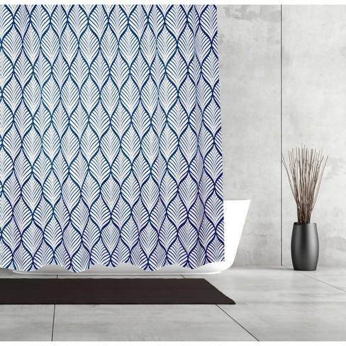 Shower Curtain Deco Leaf Slub