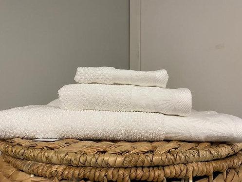 Coastal Shell Wash Towel - White