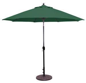 Market Umbrella Auto Tilt 9 FT WHT Pole/Forest Green Sunbrella