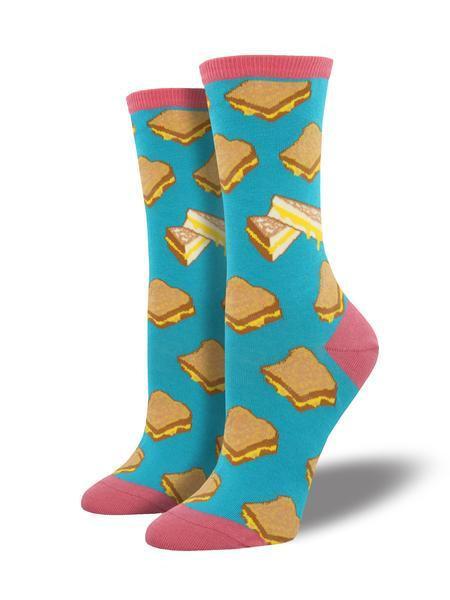 Womens Grilled Cheese Turq Socks