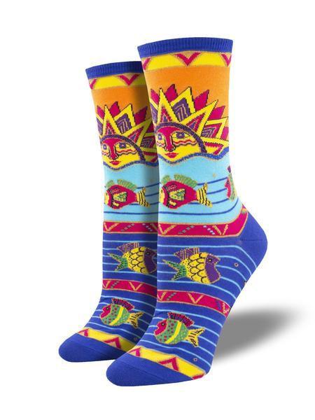 Womens Sun Water Fish Socks