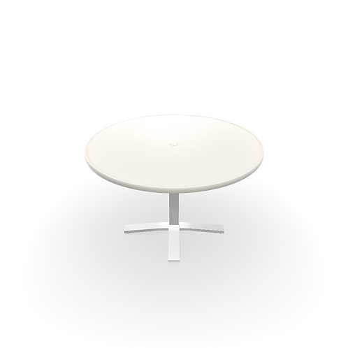 """48"""" ROUND WHITE TEXTURED SNOW MGP HAMMERED TABLE"""