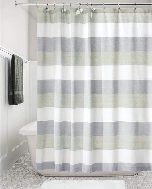 Shower Curtain Wide Stripe Navy/Sage