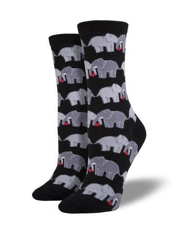 Womens Elephant Love Black Socks