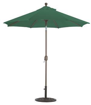 Market Umbrella Auto Tilt 7.5FT WHT Pole/Forest Green Sunbrella