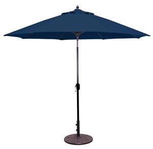 Market Umbrella Auto Tilt 9 FT CHROME Pole/Navy Suncrylic