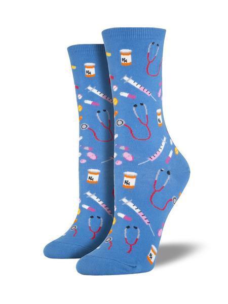 Womens Meds Cornflower Blue Socks