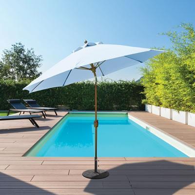 Market Umbrella Auto Tilt 9 FT WHT Pole/Navy Suncrylic