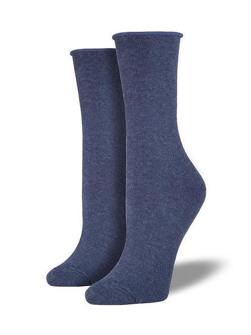 Womens Basic Comfort Crew Denim Socks