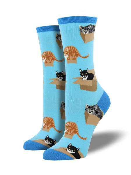 Womens Crew Cat Box Azure Socks