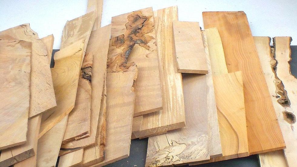 Sawn hardwood board offcuts. Mixed sizes & species. 5kgUPOC