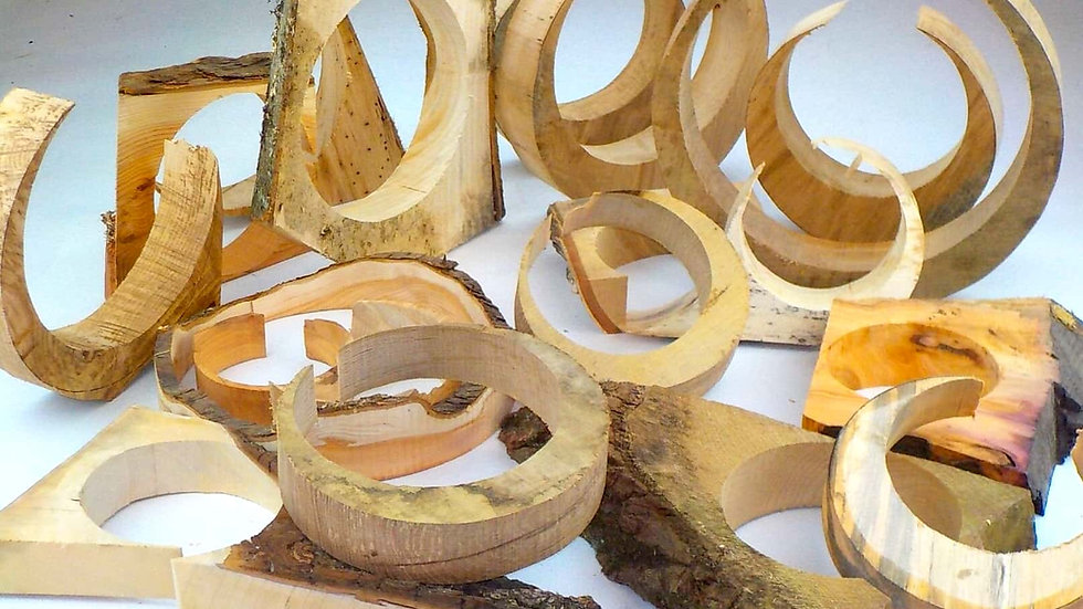Box of circular hardwood offcuts
