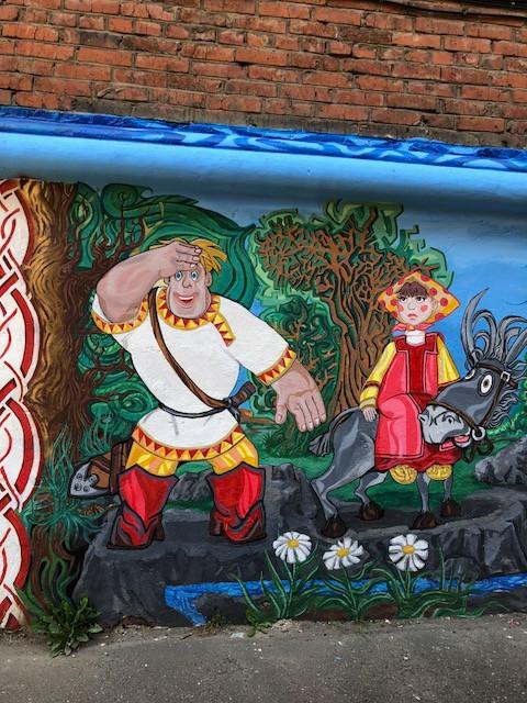 Роспись по стене, художник Константин Олюшин.