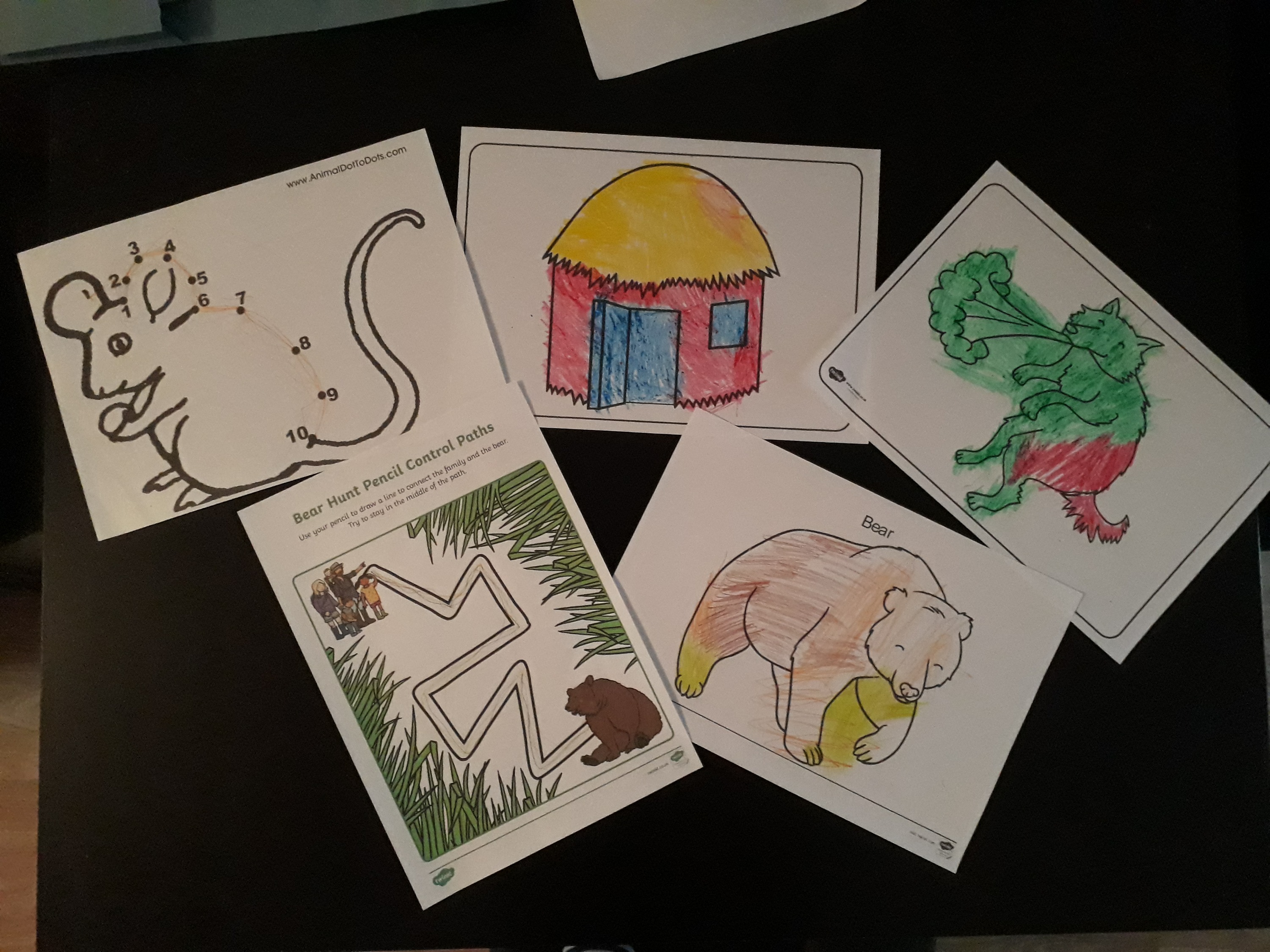 Henry's colouring in!