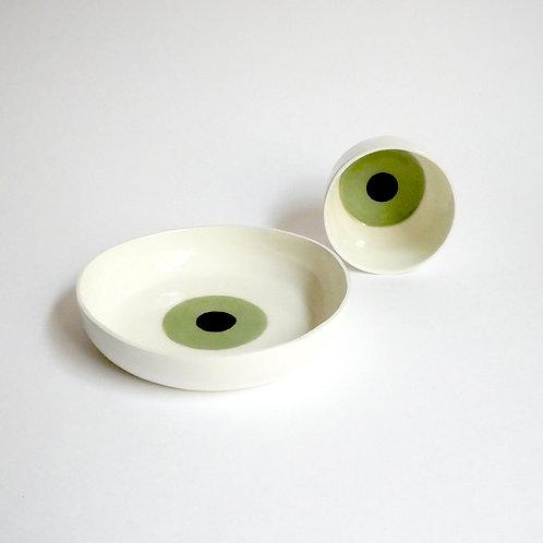 Lot Cup et Assiette eyes - vert Kiwi