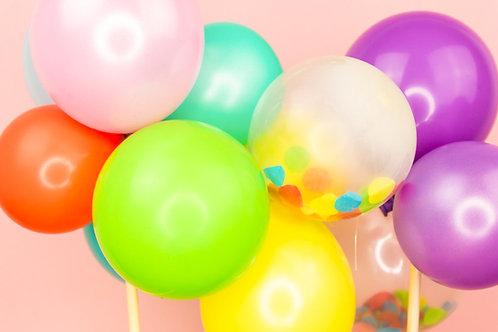 Multicoloured Balloon Garland Cake Topper