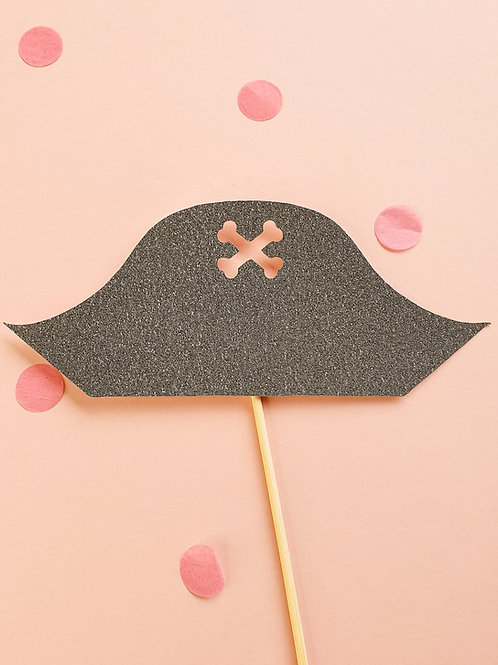 Black Pirate's Hat Card Cake Topper
