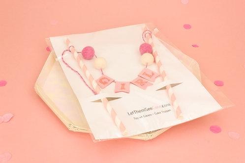 Pink Pompom Cake Topper