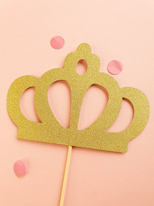 Gold Crown Card Cake Topper