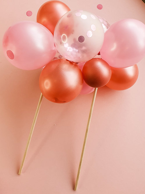 Pink and Rose Gold Balloon Garland Cake Topper