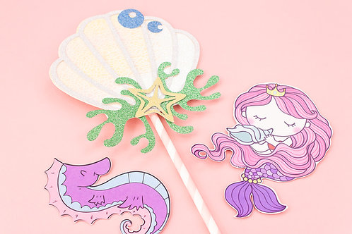 Mermaid Cake Topper Scene