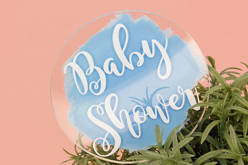"3"" Acrylic Paddle Cake Topper - Baby Shower"