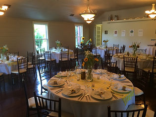 tables set for first appalachian dinner.