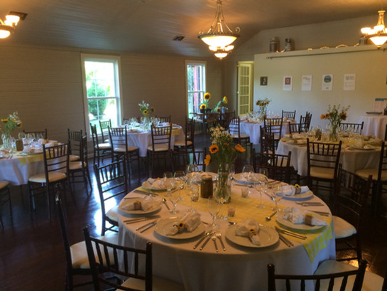 Set up for a farm to table dinner at Creekside Farm Education Center