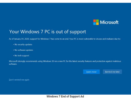 Windows 7 End-of-Support Warning