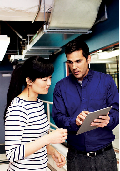employees using tablet
