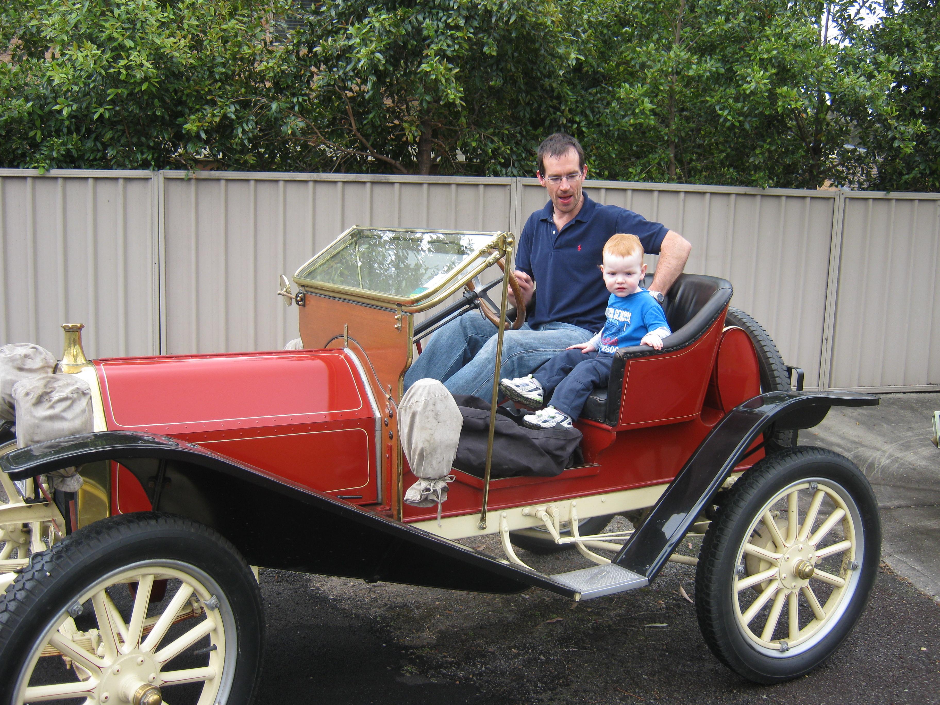 Nigel & Lachlan in the Hupmobile