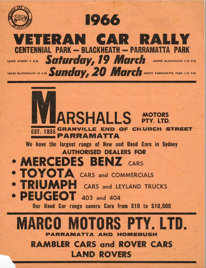 1966 Blue Mountains Rally Flyer