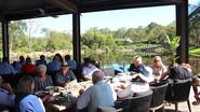 Enjoying breakfast overlooking the dam