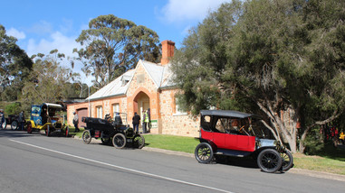 Model T's outside museum