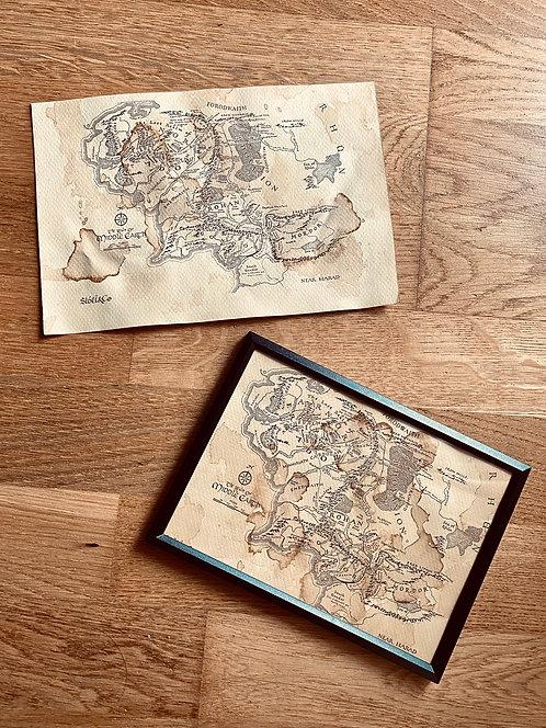 Carte Terre du Milieu parchemin