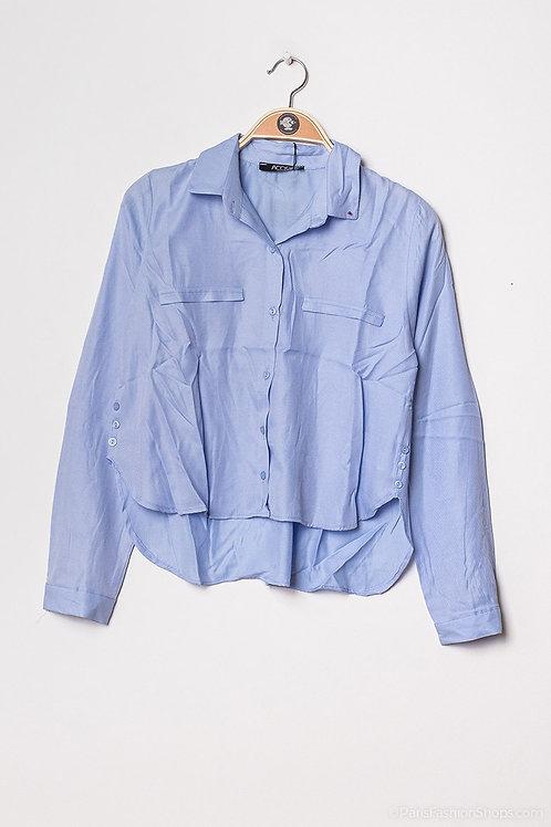 Chemise courte bleue