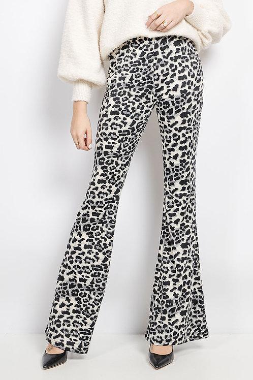 Pantalon flare imprimé léopard