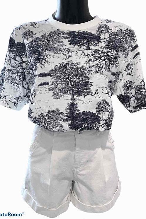 T-shirt en coton imprimé toile de Jouy