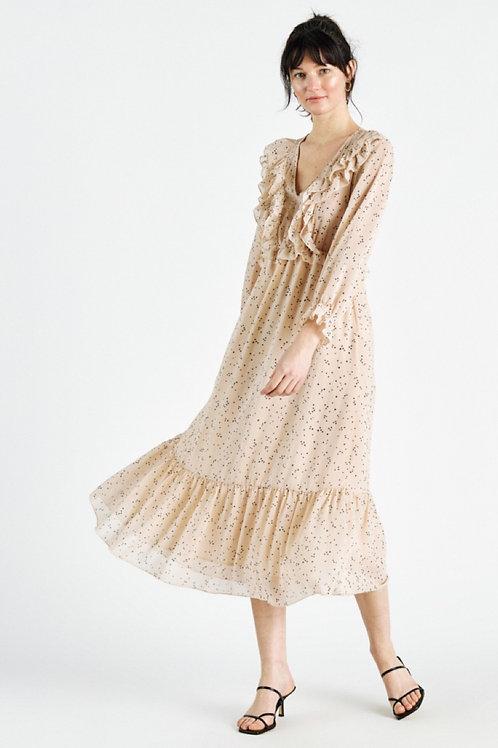 Robe longue rose tachetée