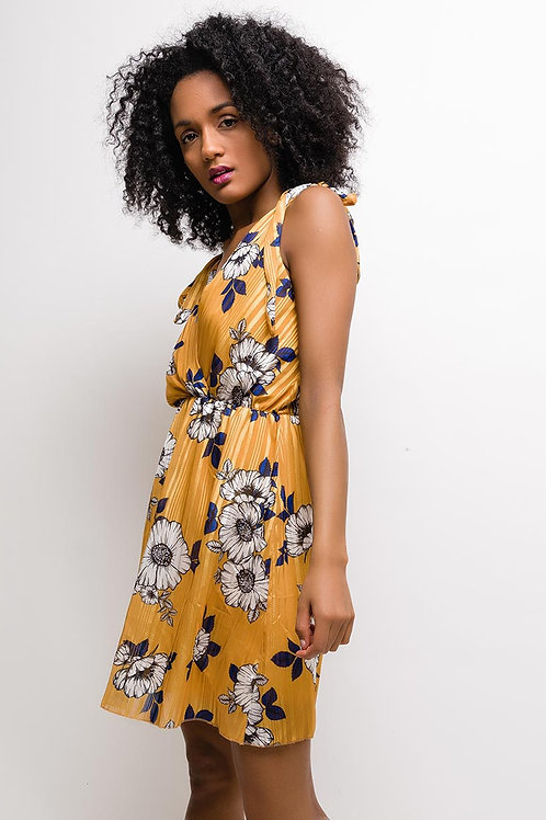 Robe fleurie moutarde