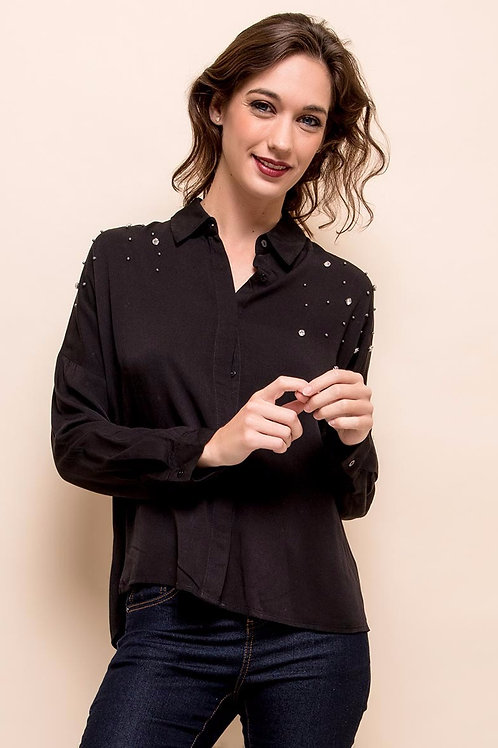 Chemise ample à strass