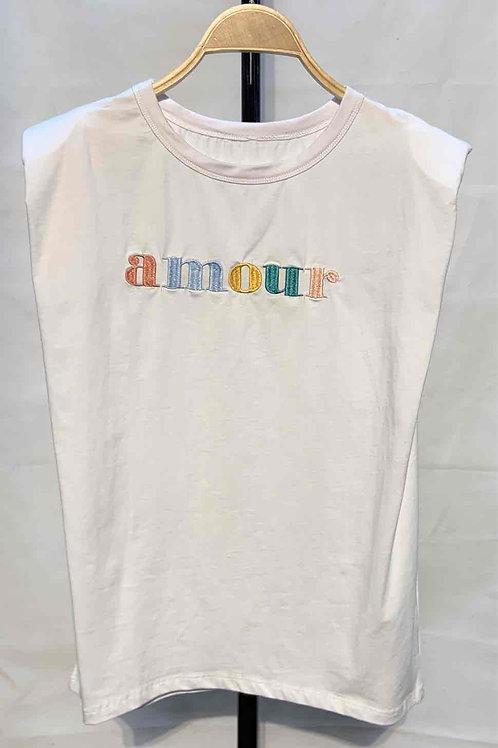 """Tee-shirt à épaulettes """"AMOUR"""""""