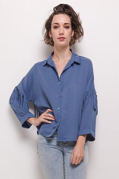 Chemise bleue à franges