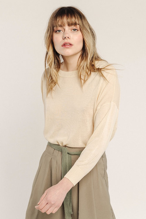 Pull fin col rond beige