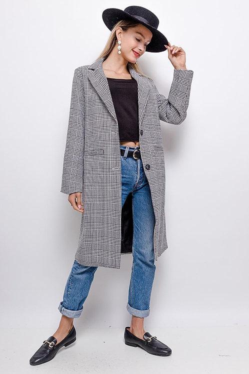Manteau à carreaux noir & blanc